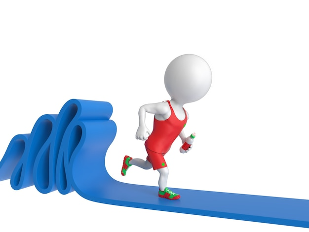 3d kleine witte sportman die op tredmolen loopt