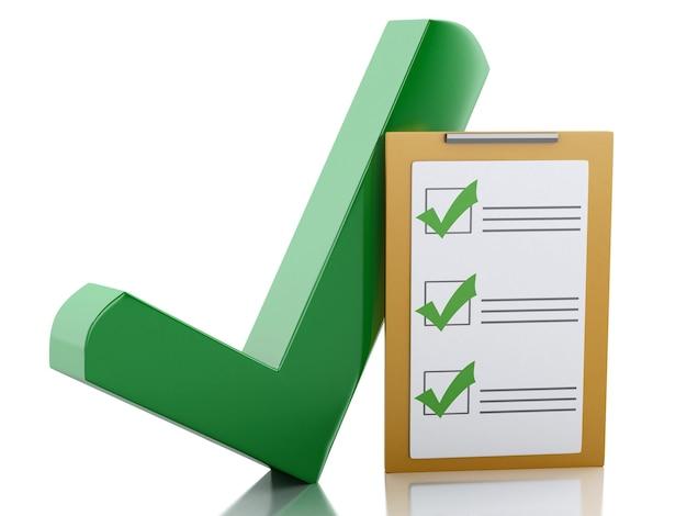 3d klembordcontrolelijst en groen vinkje. succes concept.