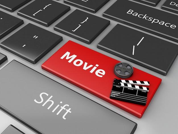 3d kleppenraad en filmspoel op computertoetsenbord.