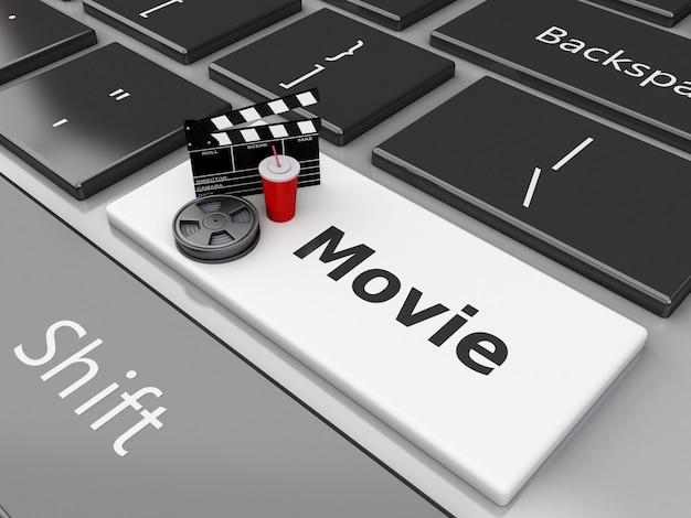 3d kleppenraad met filmspoel op computertoetsenbord.