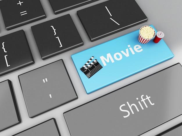 3d kleppenraad met popcorn op computertoetsenbord.