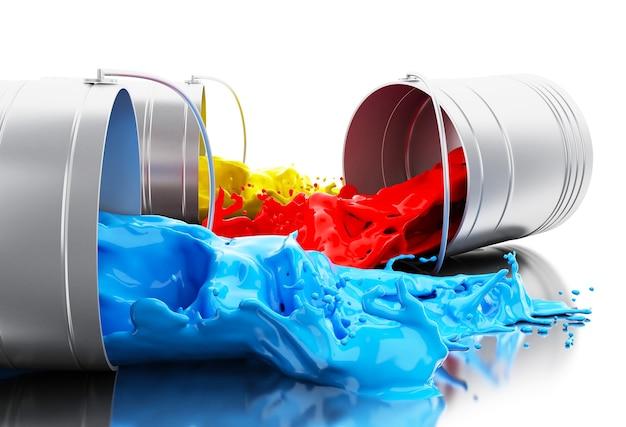 3d-kleurrijke verf spatten uit blikjes