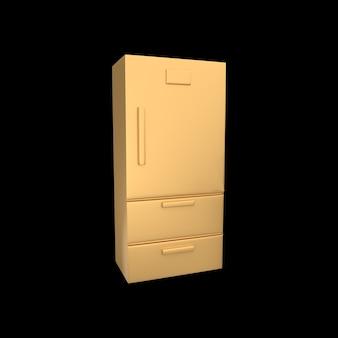 3d koelkast illustratie geïsoleerd op zwarte achtergrond.