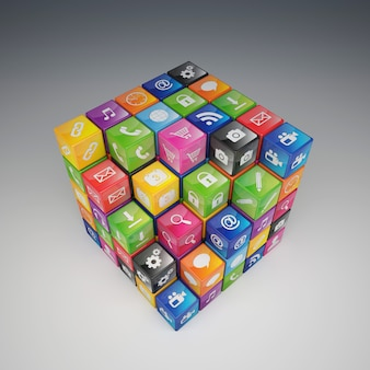3d-kubussen met toepassingspictogrammen, verschillende kleuren.