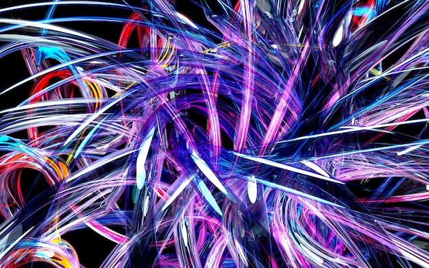 3d kunst van abstract symmetrie caleidoscopisch deel van bloem of turbinestraalmotor