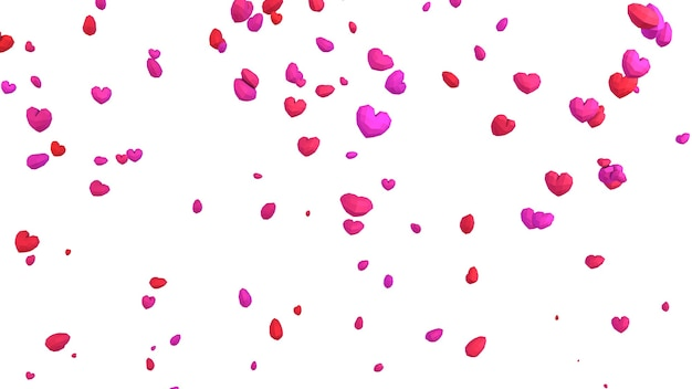 3d laag poly geometrische hart vallen uit de lucht op witte achtergrond, valentijnsdag concept, elegante liefde wenskaart achtergrond