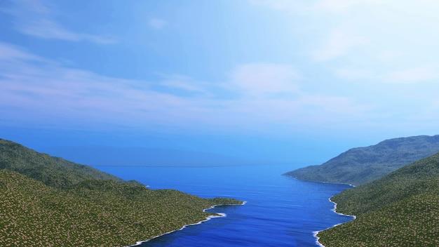 3d landschap met grasrijke heuvels en oceaan