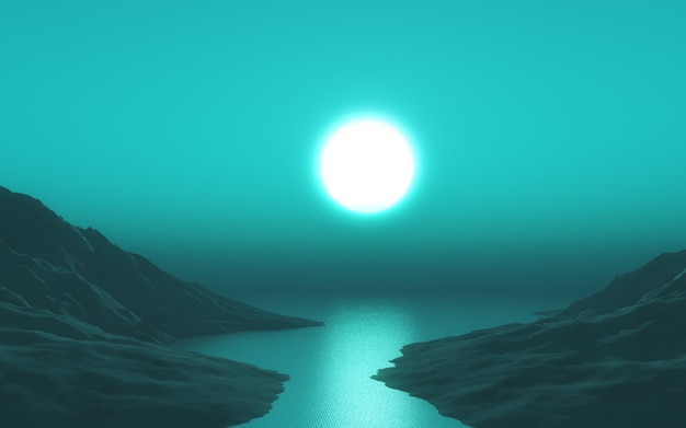 3d landschap met groene zonsonderganghemel