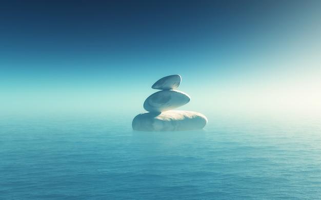 3d landschap met in evenwicht brengende kiezelstenen in de oceaan