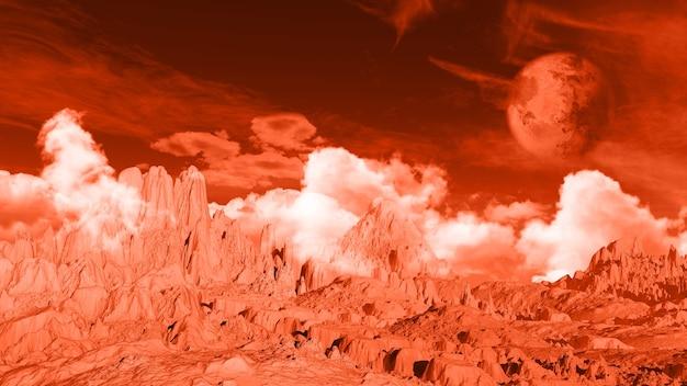 3d landschapsruimteachtergrond met fictieve planeet en grondtextuur