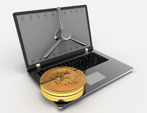 3d-laptop en bitcoins. 3d-gerenderde afbeelding