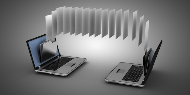 3d-laptop en map. 3d-afbeelding