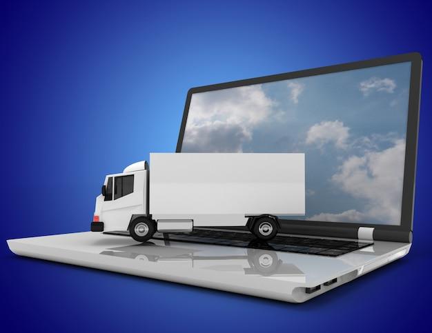 3d-laptop en vrachtwagen.3d illustratie