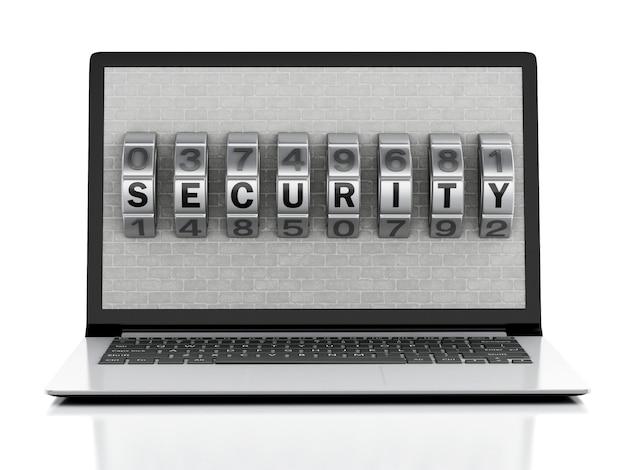 3d-laptop met bakstenen muur en combinatie vergrendelen.