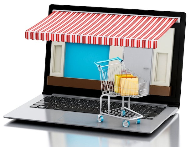 3d-laptop winkel, e-commerce.