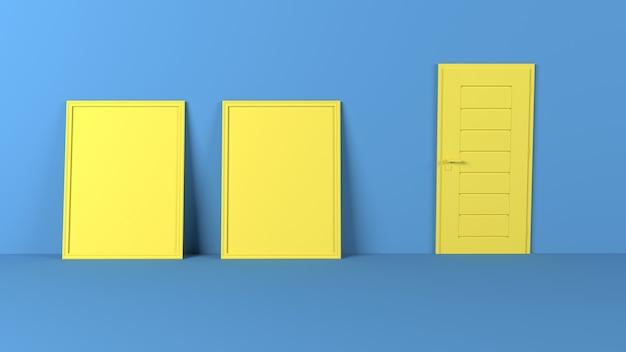 3d lege afbeeldingsframes op lege muur