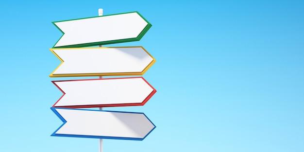 3d lege kleurrijke richtingspijlverkeerstekens met witte achtergrond, 3d illustratie background