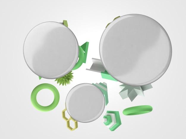 3d-lege witte badges vooraanzicht