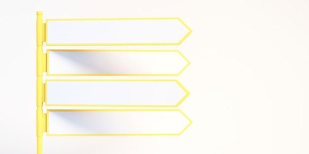 3d lege witte richtingspijl verkeersborden met witte achtergrond, 3d illustratie background