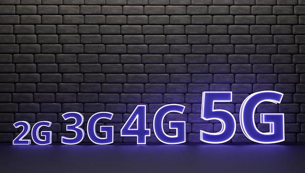 3d-letter 2g tot 5g op de muur 3d-weergave en illustratie