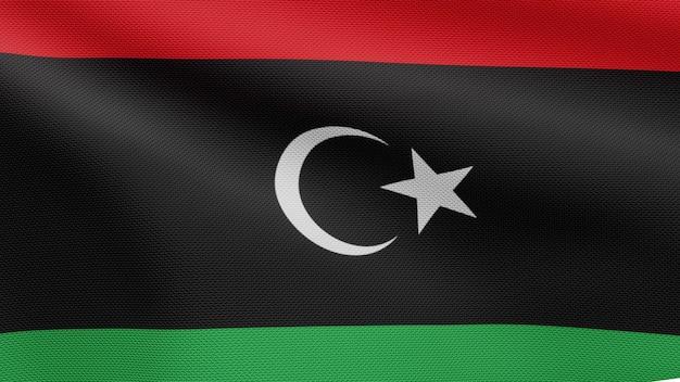 3d, libische vlag die op wind golven. close up van libië banner waait, zacht en glad zijde. doek stof textuur vlag achtergrond.