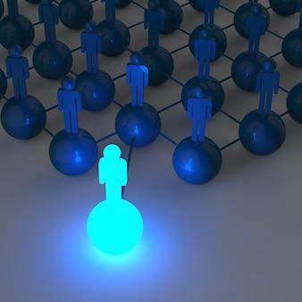 3d licht groeiend menselijk sociaal netwerk en leiderschap
