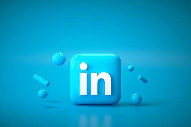 3d linkedin applicatie logo achtergrond. linkedin social media platform.