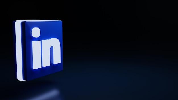 3d linkedin logo icoon hoge kwaliteit render