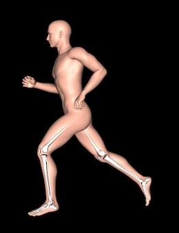3d lopende man met been- en voetenbeenderen gemarkeerd
