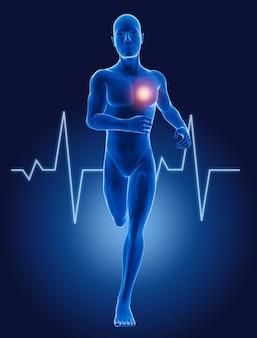 3d lopende medische mens met ecg-hartslag