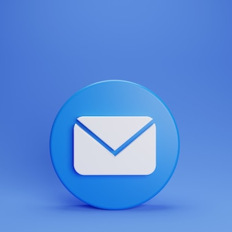 3d mail ons chat-knop op blauwe achtergrond