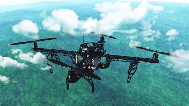 3d maken van een drone vliegen boven de wolken