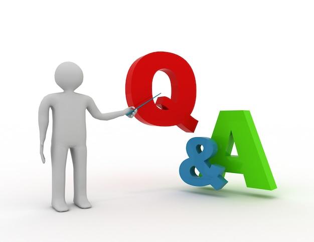 3d-man die staat en q- en a-woordvragen en -antwoorden presenteert