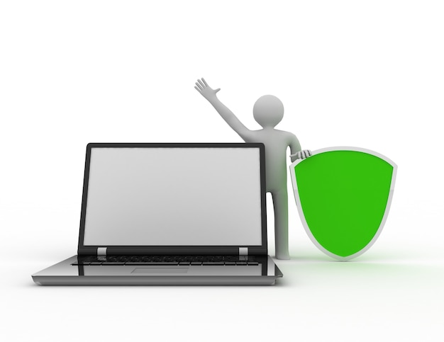 3d-man en laptop - veiligheid online zaken