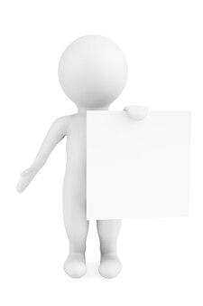 3d-man met blanco papier op een witte achtergrond