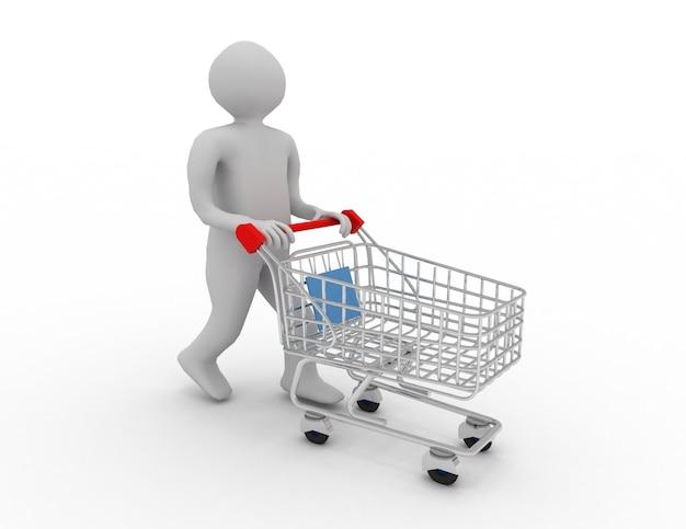 3d-man met cart.shopping concept