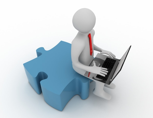 3d-man met een laptop en stukjes puzzel.