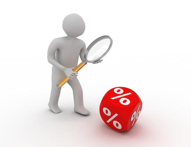 3d-man met een vergrootglas en een procentteken