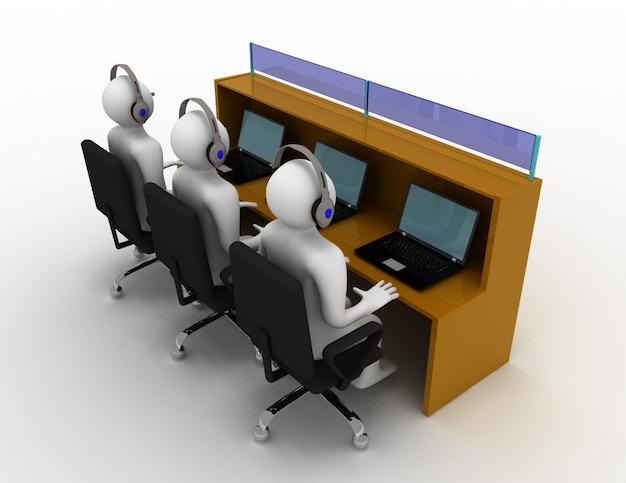3d-man met headset in kantoor. 3d-gerenderde afbeelding