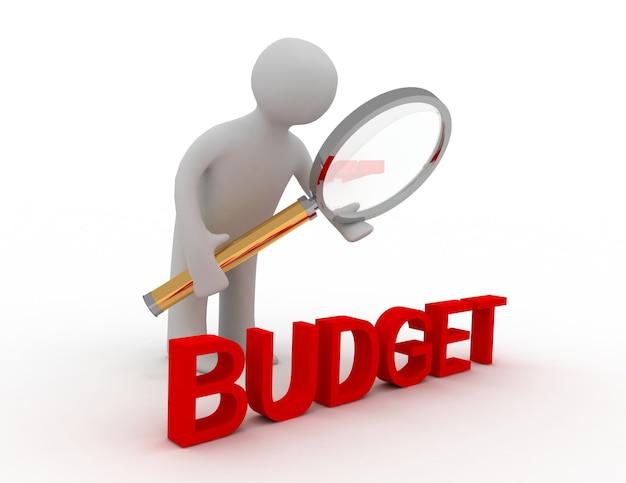 3d-man met lens en woord budget