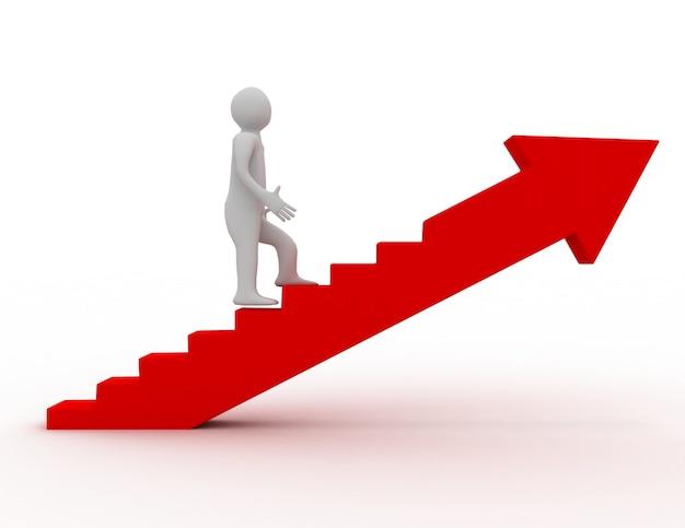 3d-man op steps.success concept