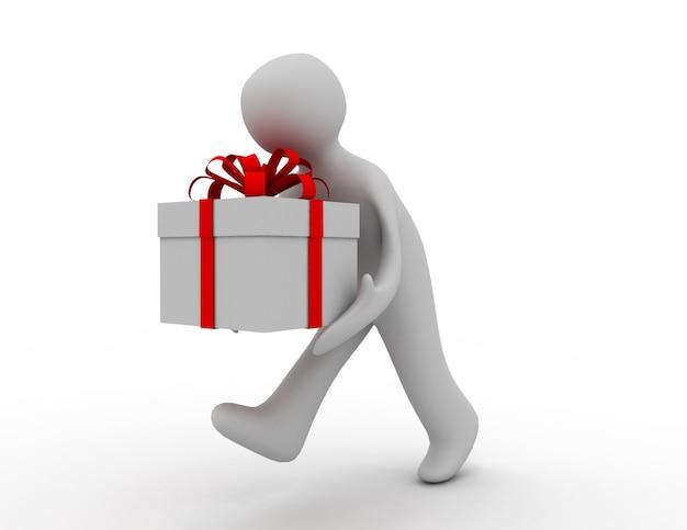 3d-man pictogram uitgevoerd met geschenkdoos. 3d-gerenderde afbeelding