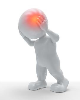 3d mannelijk figuur met hoofd gemarkeerd in pijn