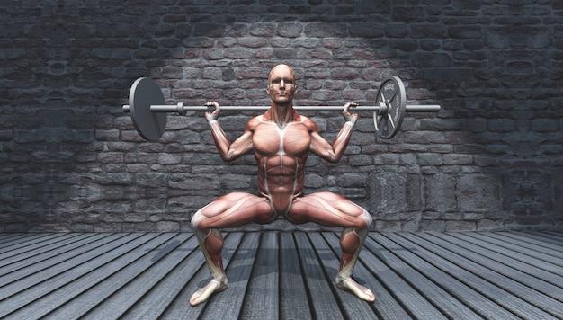 3d mannelijke figuur in barbell squat pose in grunge interieur