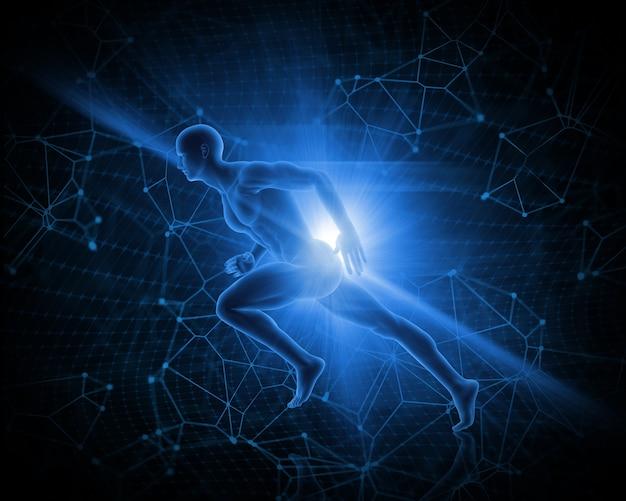 3d mannelijke figuur in sprinten pose op abstracte laag poly achtergrond