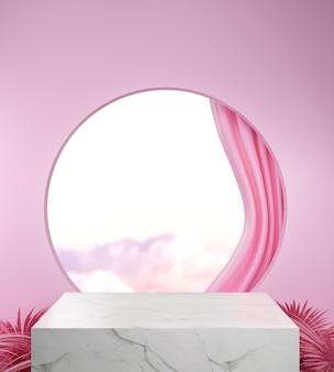 3d marmeren podium met hemelachtergrond. abstracte achtergrond. scène om cosmetische producten te laten zien.
