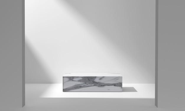 3d. marmeren vierkant podium dat wordt gebruikt om producten weer te geven in een kamer waar het zonlicht schijnt