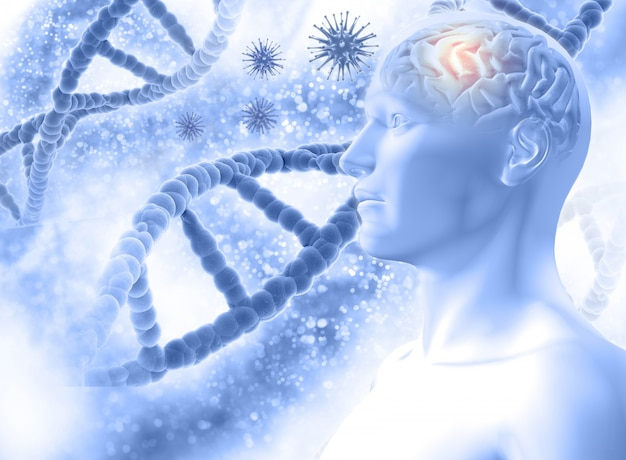 3d medische achtergrond met een mannelijke figuur met hersen- en viruscellen