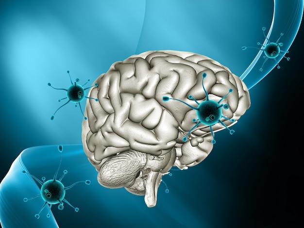 3d medische achtergrond met viruscellen die een brein aanvallen