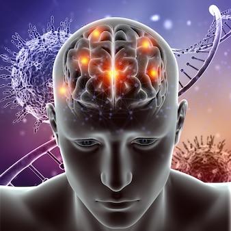 3d medische figuur met hersenen gemarkeerd op viruscellen en dna-strengen